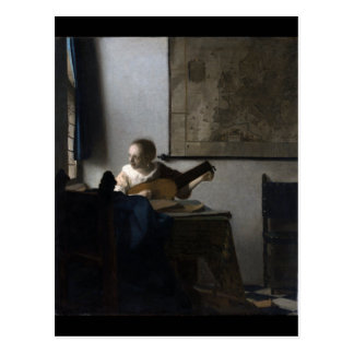 Woman with a Lute by Johannes Vermeer Postcard