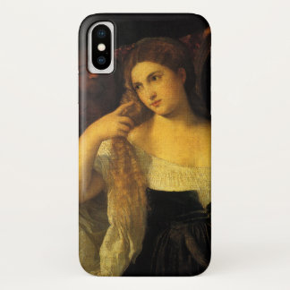 Woman with a Mirror by Titian, Vintage Renaissance iPhone X Case