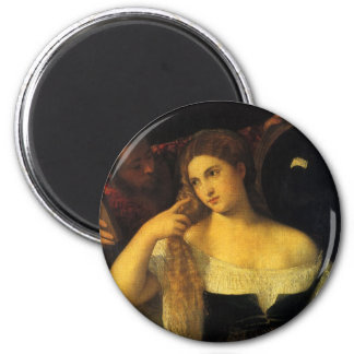 Woman with a Mirror by Titian, Vintage Renaissance Magnet