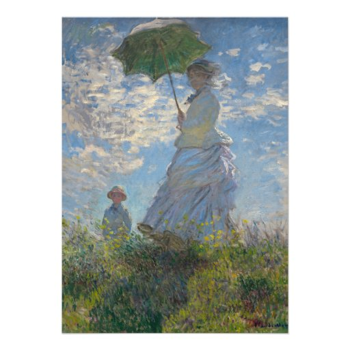 Woman with a Parasol by Claude Monet Custom Invitation