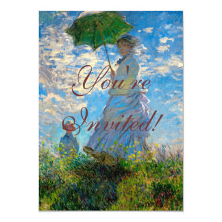 "Woman with a Parasol Claude Monet Impressionist 4.5"" X 6.25"" Invitation Card"