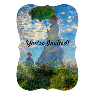 "Woman with a Parasol Claude Monet Impressionist 5"" X 7"" Invitation Card"