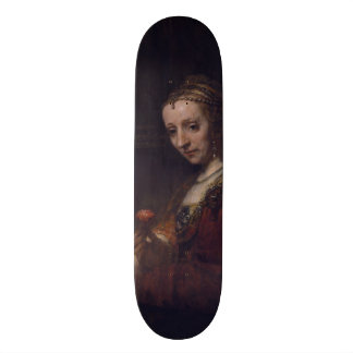 Woman with a Pink Carnation by Rembrandt van Rijn Skate Board Decks