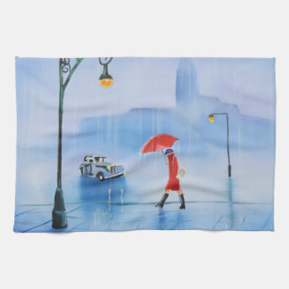 Woman with a red umbrella in the rain hand towel
