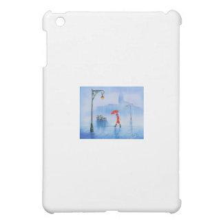 Woman with a red umbrella in the rain iPad mini cover