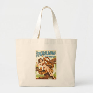 Woman with a Snake Large Tote Bag