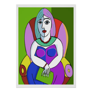 Woman With A Tablet Poster