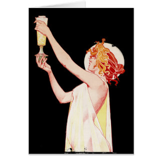 Woman with Absinthe on Black Background Card