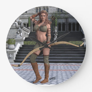 Woman With Arrows Large Clock