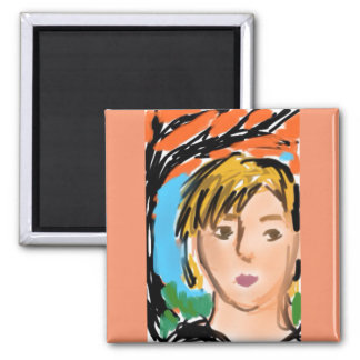 Woman with autumn leaves square magnet