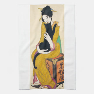 Woman with Black cat, Yumeji Takehisa Kitchen Towel