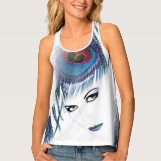 Woman With Blue Peacock Feather Stylish Tank Top