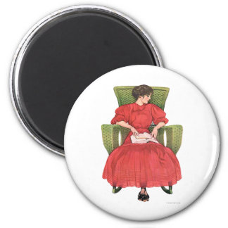 Woman with Book, Green Chair 2 Inch Round Magnet
