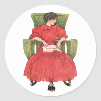 Woman with Book, Green Chair Classic Round Sticker