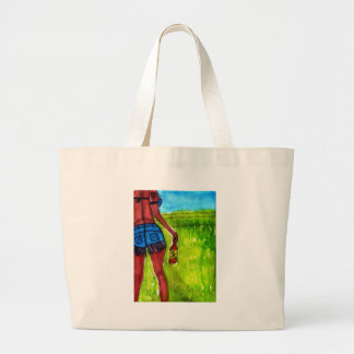Woman with Bottle of Whiskey Large Tote Bag
