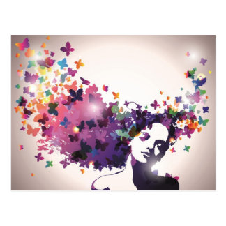 Woman with butterflies postcard