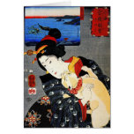 Woman with Cat -Japanese Art - Utagawa Kuniyoshi Greeting Card