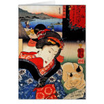 Woman with Cat - Japanese Art - Utagawa Kuniyoshi Greeting Card
