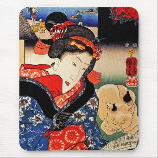 Woman with Cat - Japanese Art - Utagawa Kuniyoshi Mouse Pad