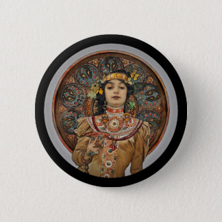 Woman with Champagne Glass 2 Inch Round Button