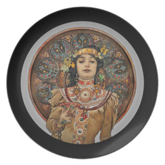 Woman with Champagne Glass Plate