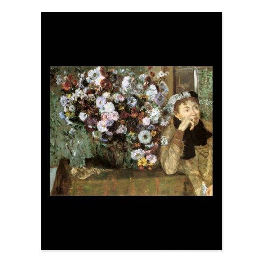Woman With Chrysanthemum Postcard