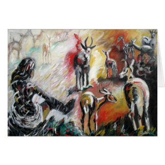Woman with Deer Card