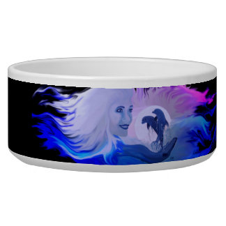 Woman with Dolphins in the moonlight Dog Bowls