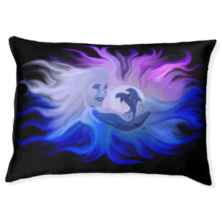 Woman with dolphins in the moonlight large dog bed
