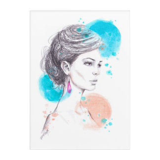 Woman with earring fashion illustration sketch acrylic print