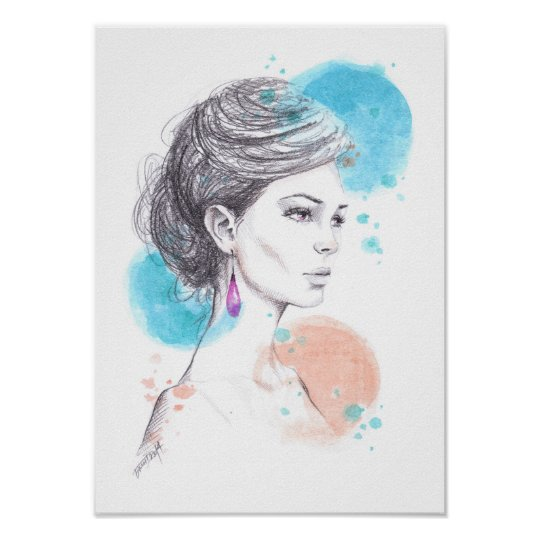 Woman with earring fashion illustration sketch poster