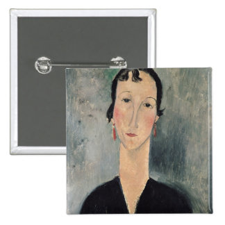 Woman with Earrings 2 Inch Square Button