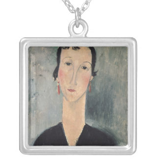 Woman with Earrings Silver Plated Necklace