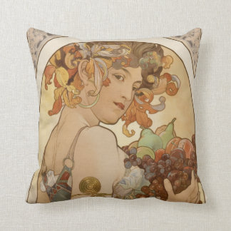 woman with floral wreath and fruits throw pillow