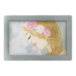 Woman with Flowers in her Hair Belt Buckles