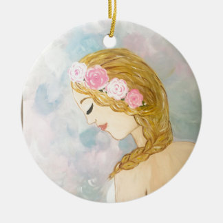 Woman with Flowers in her Hair Ceramic Ornament
