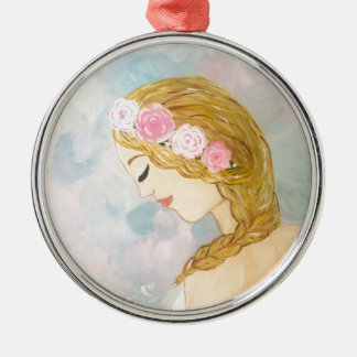Woman with Flowers in her Hair Metal Ornament