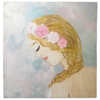 Woman with Flowers in her Hair Napkin