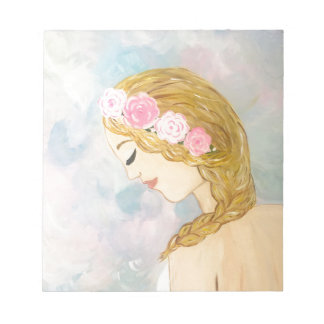 Woman with Flowers in her Hair Notepad