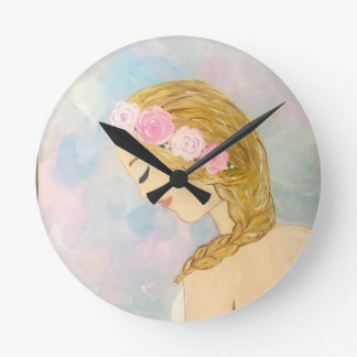 Woman with Flowers in her Hair Round Clock