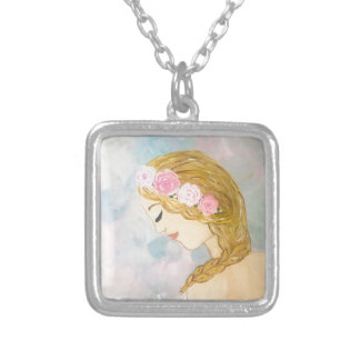 Woman with Flowers in her Hair Silver Plated Necklace