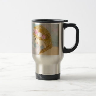 Woman with Flowers in her Hair Travel Mug