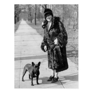Woman with French Bulldog, 1920s Postcard