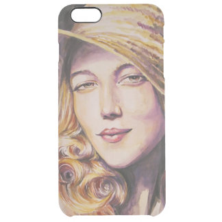 Woman with hat clear iPhone 6 plus case