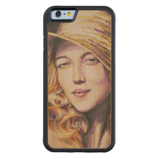 Woman with hat carved® maple iPhone 6 bumper case