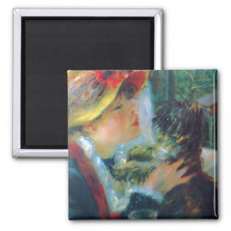 Woman with Her Dog Renoir Fine Art Square Magnet