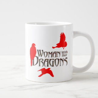 Woman with her Dragons Large Coffee Mug