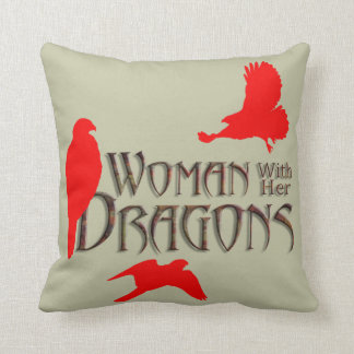 Woman with her Dragons Throw Pillow