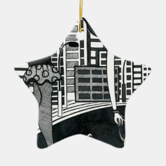 woman with her lovely dog ceramic star ornament