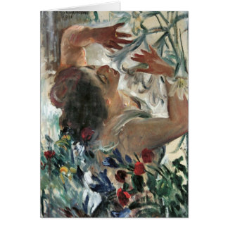 Woman with lilies in the greenhouse -Lovis Corinth Card